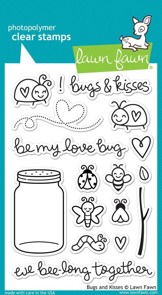 "Lawn Fawn """"Bugs & Kisses"""" Clear Stamp Set:"