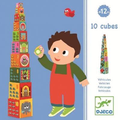 Toronyépítő építő kockák - járműves(10 cubes vehicles blocks Djeco) | Pandatanoda.hu Játék webáruház