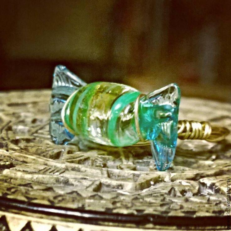 """Купить Кольцо """"Венеция"""",стекло ручной работы,ювелирный сплав - кольцо ручной работы, лэмпворк"""