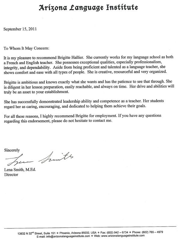 english recommendation letter sample