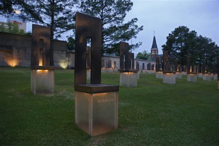 The chair dedicated to bombing victim Baylee Almon is pictured in the Field of Empty Chairs at the Oklahoma City National Memorial