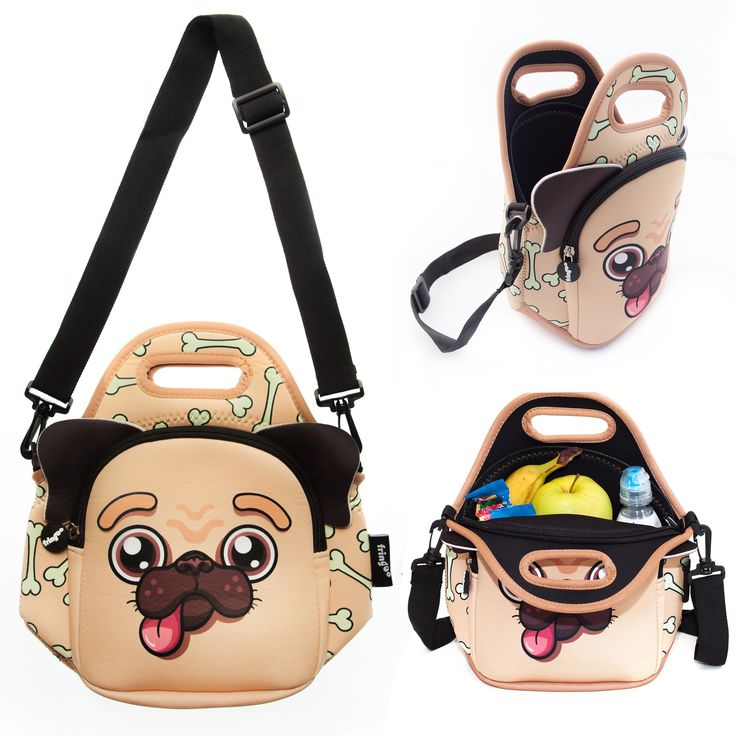 This pug design is perfect for boys and girls to enjoy their lunch in an adorable lunchbox. Large main pocket have plenty of room for sandwiches, drinks and snacks. Front zipped pocket offers a great space for after meal treat! Adjustable strap holder allows your little one to carry her bag around independently.