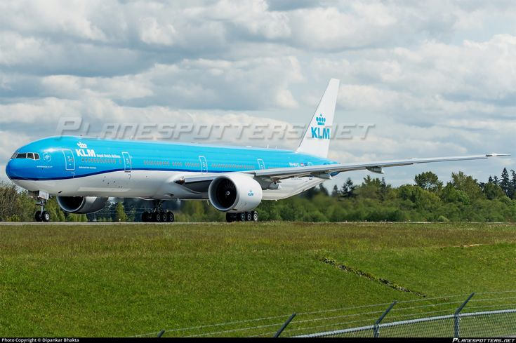 KLM Royal Dutch Airlines Boeing 777-306(ER) PH-BVO aircraft, named ''KAZIRANGA National Park=a national park at the state of Assam India'', skating at USA Snohomish County Paine Field small International Airport. 22/04/2015.
