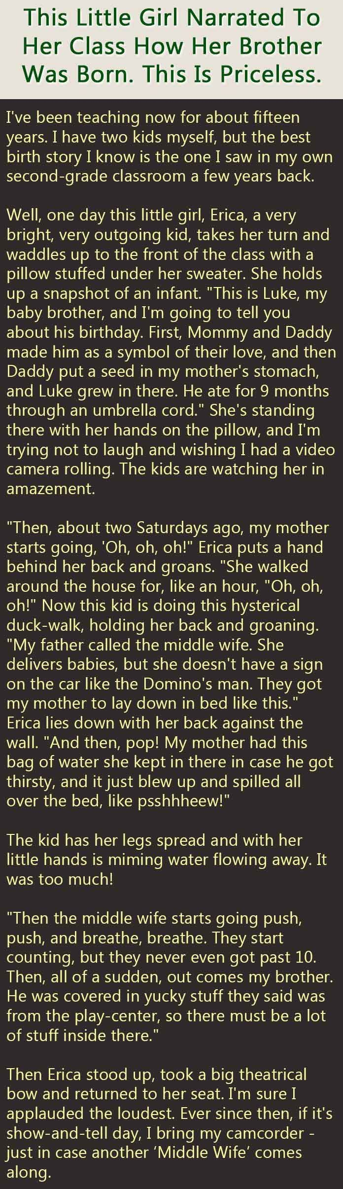 This Little Girl Narrated To Her Class How Her Brother Was Born This Is Priceless funny jokes story lol funny quote funny quotes funny sayings joke humor stories funny kids funny jokes