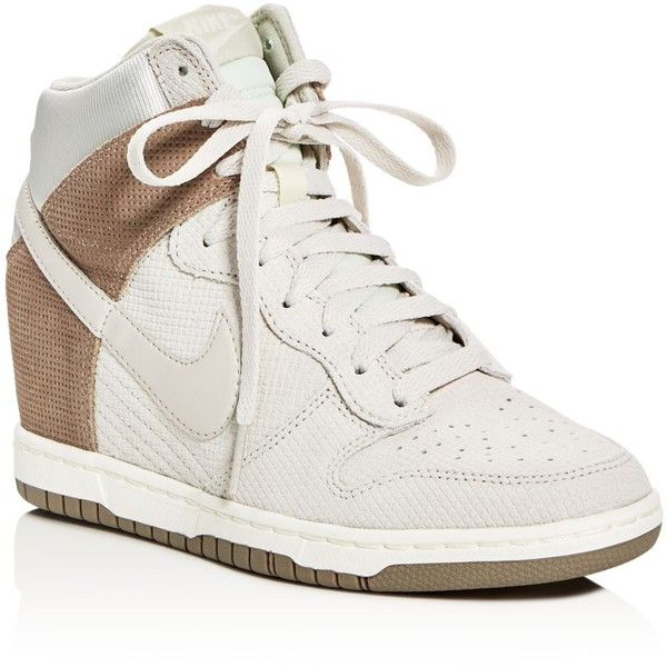 Nike Dunk Sky Hi Essential High Top Wedge Sneakers (€87) ❤ liked on Polyvore featuring shoes, sneakers, nike footwear, high top trainers, wedge sneakers, wedge trainers and hidden wedge high tops