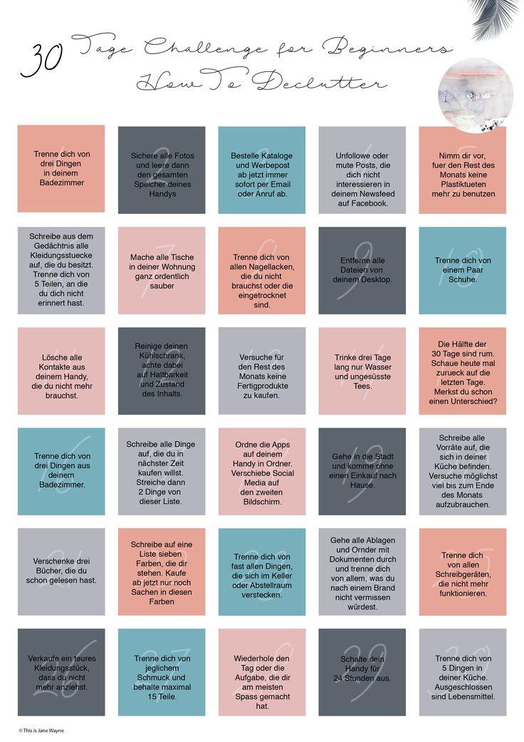 Minimalismus - 30 Tage Plan