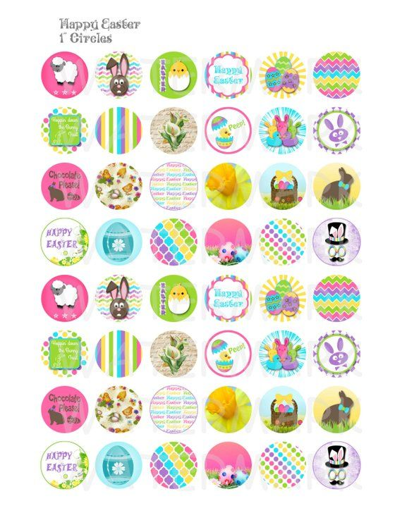 Frohe Ostern – Digital Collage Sheet – 1 Zoll Runde Kreise – INSTANT DOWNLOAD