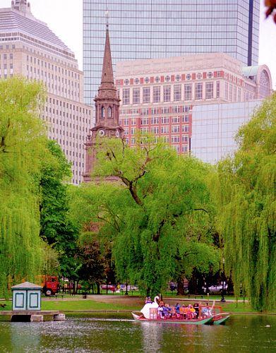 Boston Public Garden - Swan Boat & Boston Skyline by David Paul Ohmer, via Flickr.