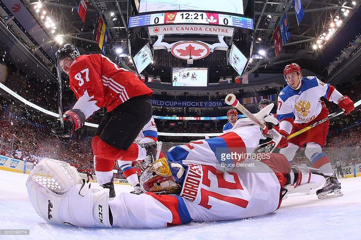 Sidney Crosby #87 of Team Canada scores a first period goal past a diving Sergei Bobrovsky #72 of Team Russia at the semifinal game during the World Cup of Hockey tournament at Air Canada Centre on September 24, 2016 in Toronto, Canada.
