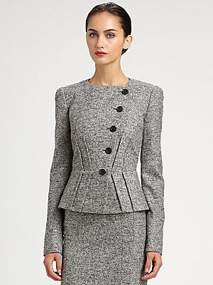 Classic suit with feminine details. Everyone needs some Italian in their closet! Armani Collezioni Micro Bouclé Jacket
