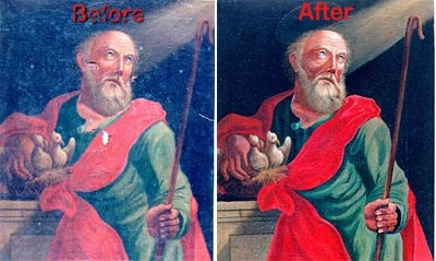 Restored Medieval painting, pretty nifty.
