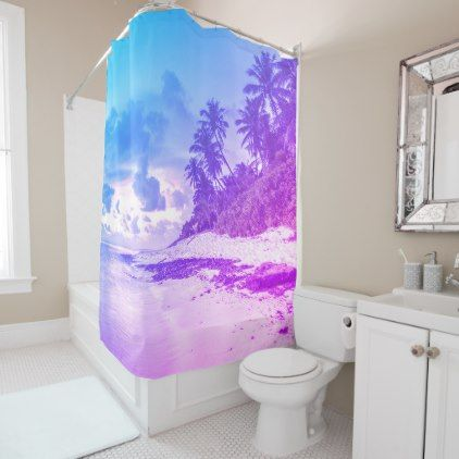 #Purple and blue Tropical beach design Shower Curtain - #Bathroom #Accessories #home #living