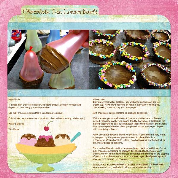 Chocolate Ice Cream Bowls - digital scrapbooking recipe layout