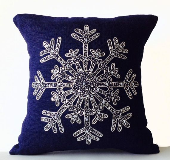 Christmas Pillow Snowflake Navy Blue Pillows Burlap by AmoreBeaute