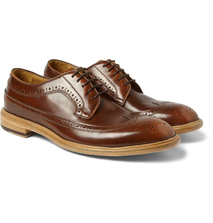 Paul Smith Shoes   Lincoln Leather Longwing Brogues. Dark Caramel Brown.  Wingtips. Polished