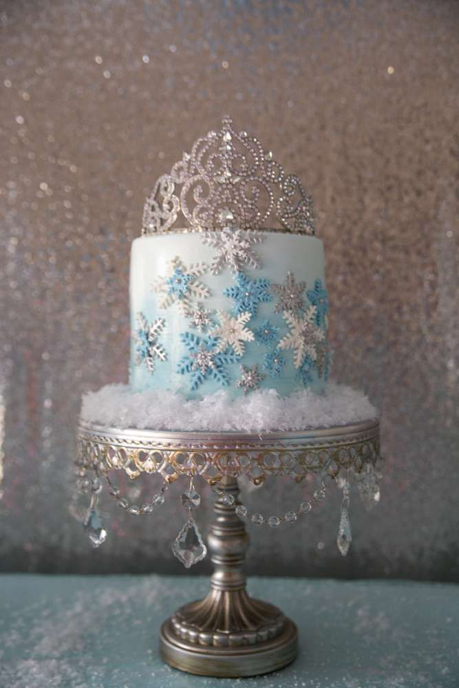 Pretty cake at a Frozen birthday party! See more party planning ideas at CatchMyParty.com!