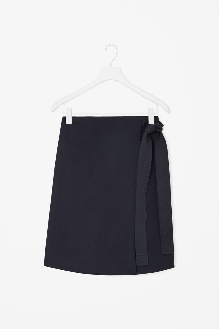 Wrap-front wool skirt