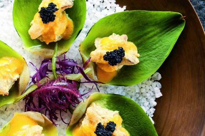 Artichoke Oysters with Tomato Béarnaise and Kelp Caviar
