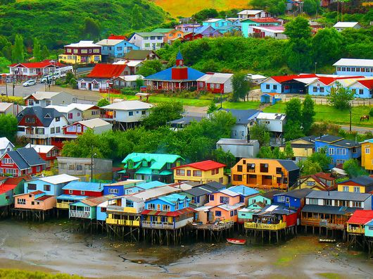Chiloe colourful houses