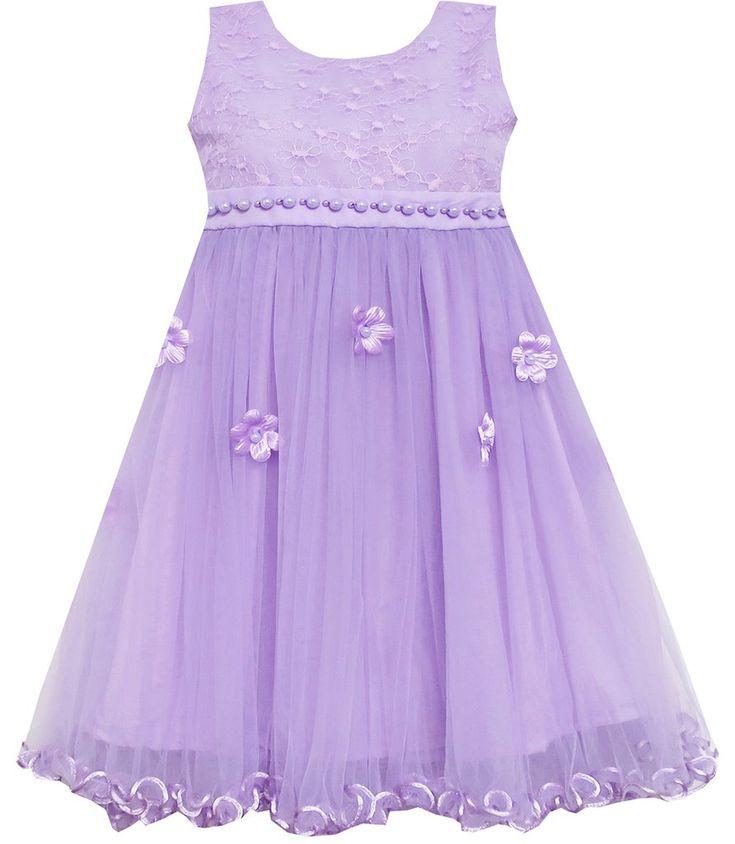 Girls Dress Lace Bodice Hi Lo Maxi Dress With Beading Purple Size 4-12 Years