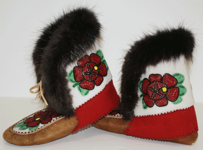 Beaded Moose Hide Moccasin Mukluks - Tlicho