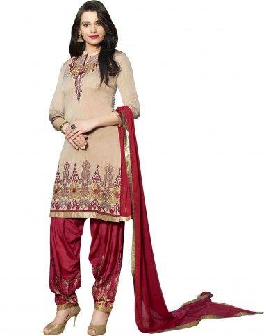 Cream Coloured Cotton #Unstitch Salwar Kameez with #Embroidered Work