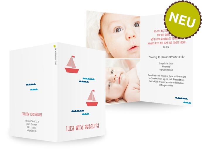 Karteneden Geburt & Taufe Taufeinladungen Beschützte Reise    Beschützt und sicher soll die Reise Ihres Lieblings durchs Leben sein. Mit dieser Einladung unterstreichen Sie den Sinn der Taufe auf liebevolle Art.