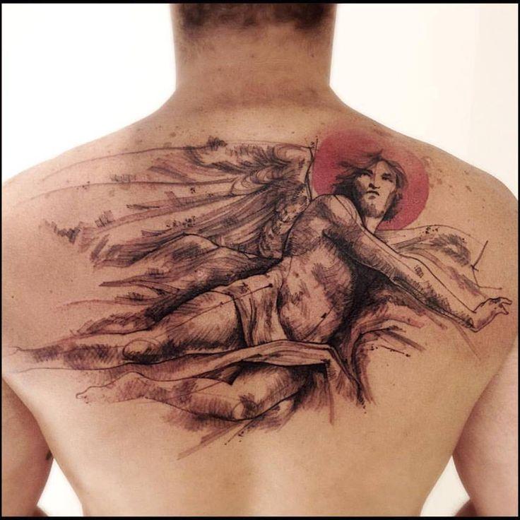 Tatuaje de un ángel de estilo sketch.