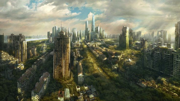 A zombie apocalypse city   The remaining buildings will be taken back by the forces of nature ...