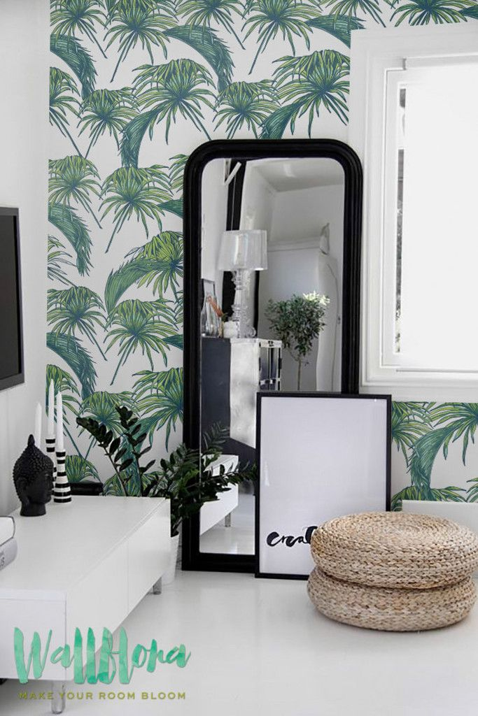 Tropical Pattern Wallpaper | Exotic Removable Wallpaper | Palm leaves Wallpaper | Wall Sticker | Tropical Palm leaves Self Adhesive Wallpaper