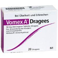 Als Mittel gegen Übelkeit und Erbrechen sind die Vomex A Dragees perfekt. Dimenhydrinat mindern die Übelkeit und Magen-Darmbewegungen beruhigen sich