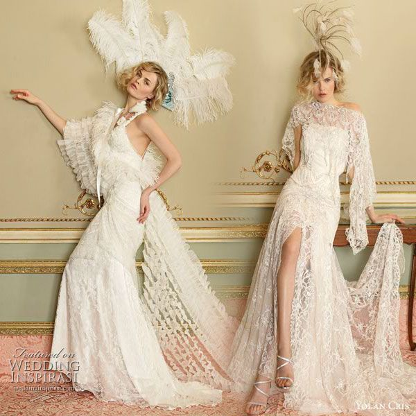 Yolan Cris vintage inspired lace wedding Dresses Divas 2010 collection -  Agata and Celina flapper or 1920s inspired bridal gowns worn with feather fascinators