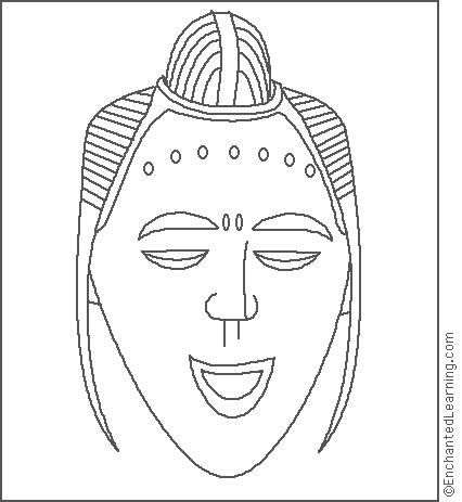 african mask template coloring for kids | ... on a region ...