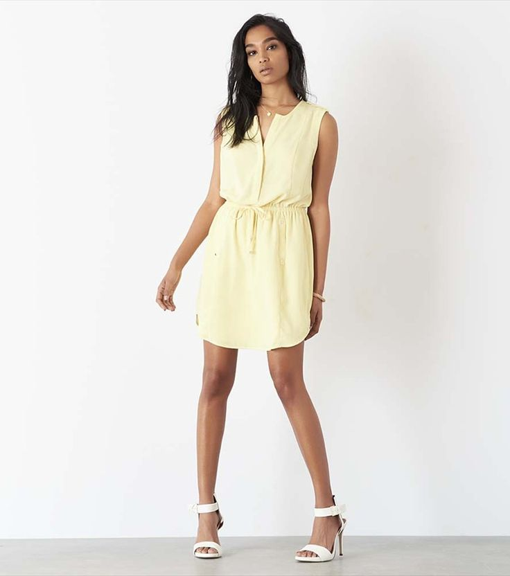 Shirt Dress with Shoulder Details YELLOW IRIS