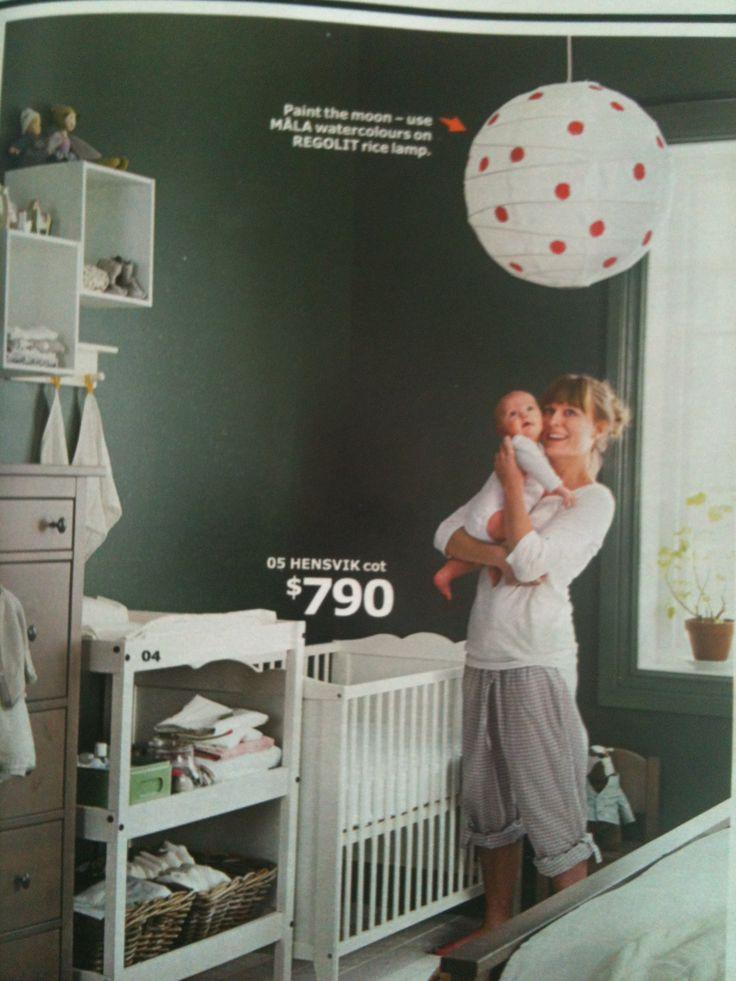 Ikea 2014 catalog, nursery in master bedroom, like the rice lamp deco