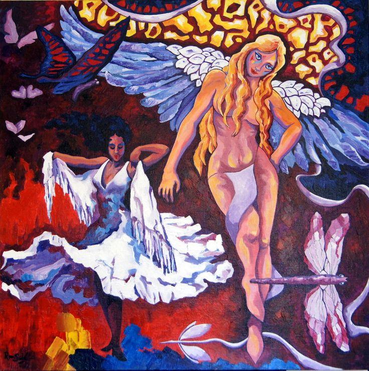 """#380-- Génesis de la imaginación III. """"Vuela"""" - Autor: RomSabi, acrílico y esmaltes, sobre tabla de madera 80 x 80 cm -"""
