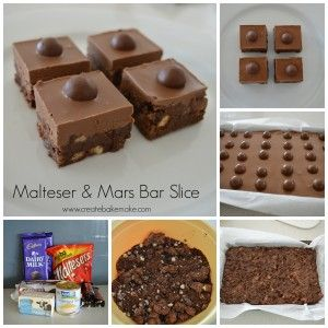 Malteser and Mars Bar Slice recipe by Lauren of Create Bake Make. I don't like maltesers, so might substitute with jaffas...