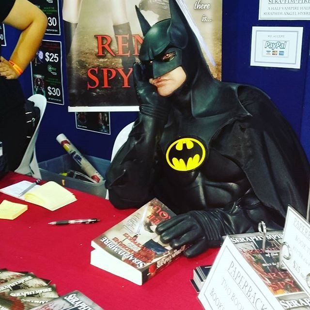 This is #priceless, #Supanova2016 #Brisbane #Batman dropped by my #BookSigning #Seraphympire table to #sign & #read my #books, this was so funny, it made my day, we laughed so much, #Cosplayers are #unreal, I #love the way they just get into #character. Come down to the #Brisbane  Exhibition & Convention centre & see the #Cosplay #costumes & maybe drop by my table & have a chat & perhaps buy a #signed copy of my #novels.