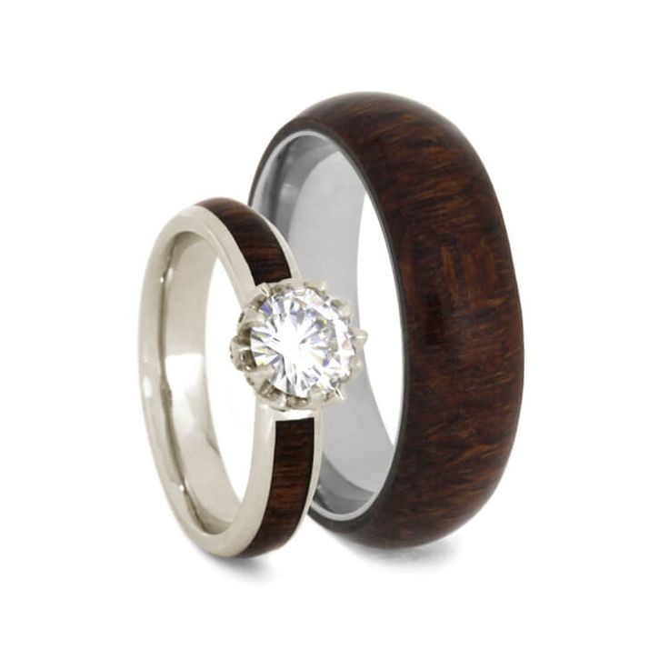 Rosewood Wedding Ring Set, Moissanite Engagement Ring With Titanium Band-3610