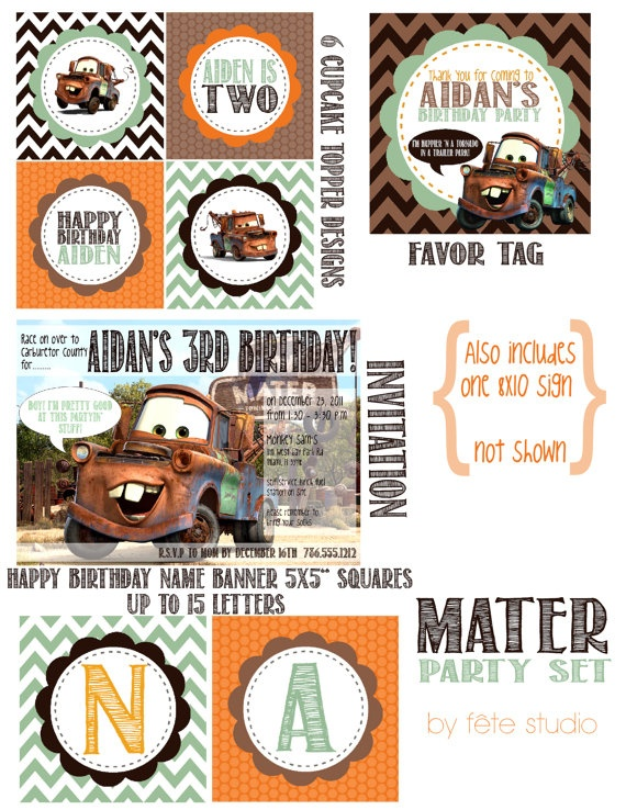 Disneys Cars Mater Invitation and Printable Party