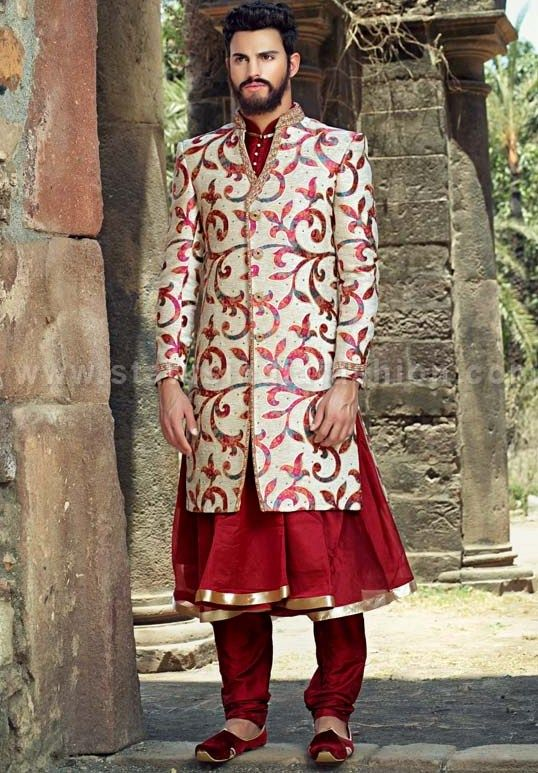 Mens wear, groom wedding dress, groom sherwani, designer indo western, bright color indowestern, indian wedding wear, royal wedding indowestern www.statusindiafa...