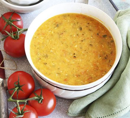 Batch cook this courgette & tomato soup when you have a seasonal bounty.