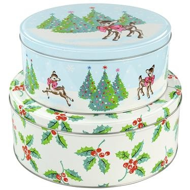 Cath Kidston Christmas cake tins are perfect for transporting and storing your festive baked goodies!