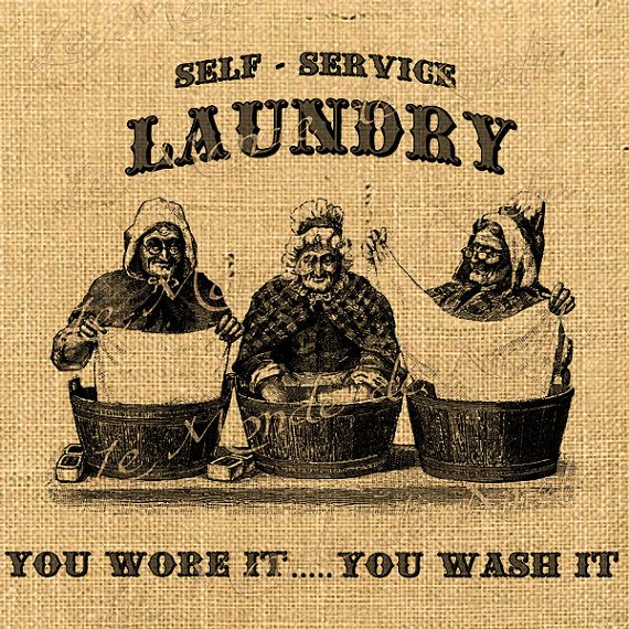 Self Service   laundry vintage wash clothes older women graphic art transfer gift tag label napkins burlap pillow Sheet n.774