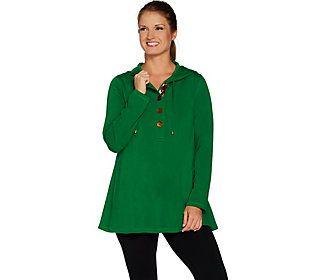 Susan Graver Weekend Brushed Back Knit Hooded Pullover