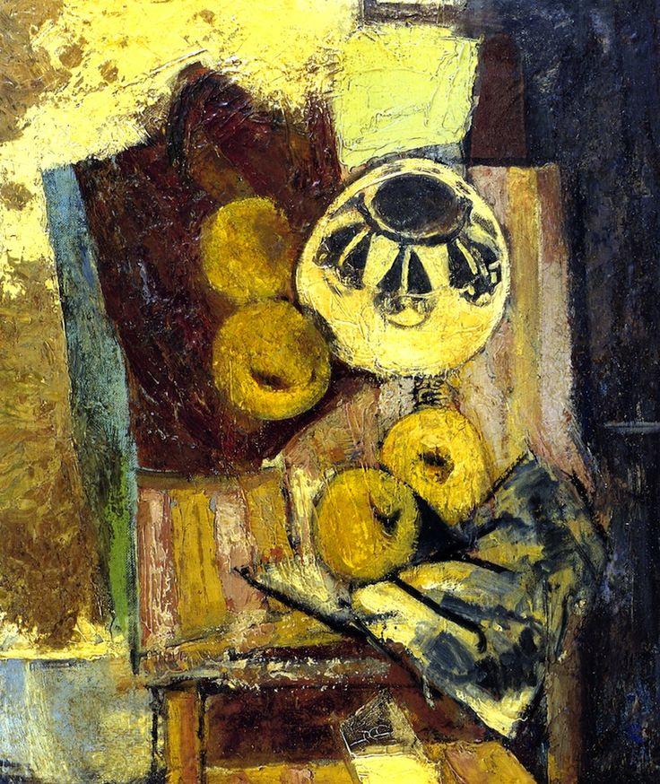 Alfred Henry Maurer:  Cubist Still Life with Ceramic Bowl and Apples (c.1927-1929): Artists, Ceramic Bowls, Still Life, Alfred Maurer, Nature Mort, Henry Maurer, Apples C 1927 1929, Alfred Henry, Ceramics Bowls