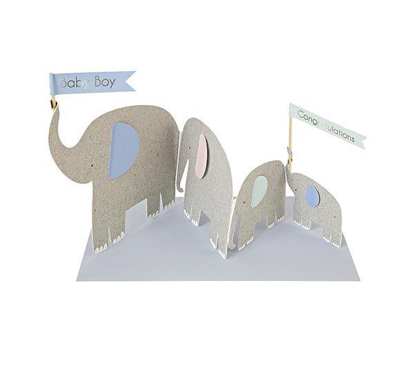 Wenskaart - Pop up olifantjes www.Millows.nl