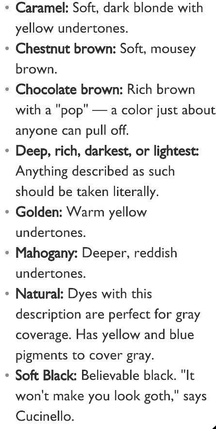 Some loverly hair color descriptions, perfect for all my characters. I never know what it's cslled