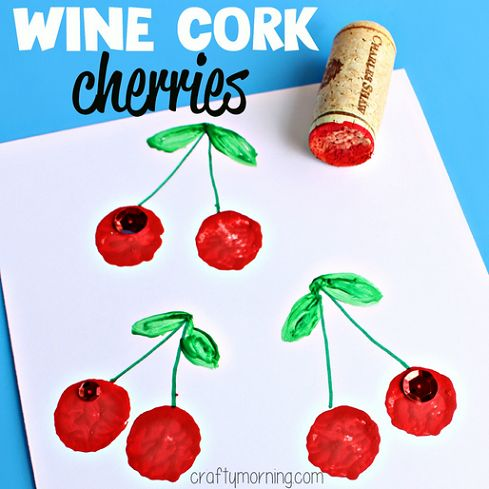 Learn how to make a cherry stamp using a wine cork to put on homemade cards and gift wrap paper! Perfect kids craft as well.