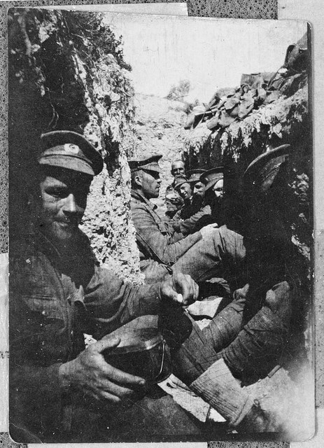 Soldiers in a trench, Gallipoli, Turkey, 1915 by National Library NZ on The Commons